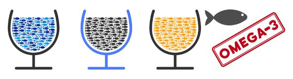 Fish Omega-3 Glass Cup Vector Collage Illustration. Fish omega-3 glass cup vector illustration set with collage elements filled by fish icons in blue and gray Stock Image