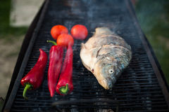 Fish On Grill Royalty Free Stock Photo