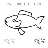 Fish. One Line Logo. Minimalism Style Logotype. Vector Royalty Free Stock Photos