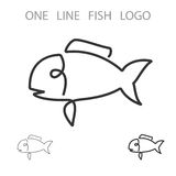 Fish. One Line Logo. Minimalism Style Logotype. Vector Royalty Free Stock Photography