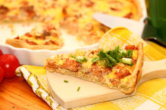 Fish open pie. On a white plate royalty free stock photography