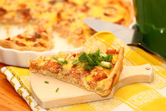 Fish open pie. On a white plate stock photo