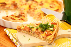 Fish open pie. On a white plate Stock Images