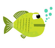 Fish opened with bubbles. Fish on a white background. Vector Illustration. Fish on a white background. Vector Illustration. Royalty Free Stock Images