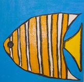 Fish with orange lines, painting Royalty Free Stock Image