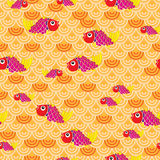 Fish orange wave seamless pattern. Illustration fishes orange yellow pink color bright seamless pattern Stock Image