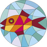 Fish in orb. Colorful fish made in glass mosaic Royalty Free Stock Photo