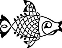Fish ornament. Fish ornate silhouette on a white background vector Royalty Free Stock Images