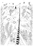 Fish, ornamental graphic fish, floral line pattern. Vector. Zentangle.  Stock Photos