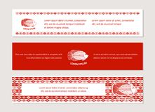 With fish and ornaments in ethnic style. The bright corporate identity with fish and ornaments in ethnic style.  Cover for banners, posters, brochures, flyers Stock Image