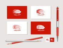 Fish and ornaments in ethnic style. The bright corporate identity with fish and ornaments in ethnic style. Samples of business cards, a pen, a flash card, a Royalty Free Stock Photos