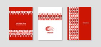 Fish and ornaments in ethnic style. Cover for banners, posters, brochures, flyers. Vector Stock Images
