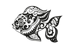 Fish with ornaments in the ethnic style. Pattern elements in a form of fish made in Stock Image