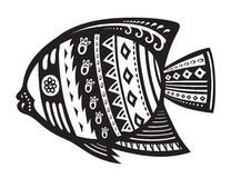 Fish with ornaments in the ethnic style. The stylized figure of a fish in festive patterns Stock Images