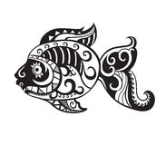 Fish with ornaments in the style of the Maori. Pattern elements in a form of fish made in Stock Photos