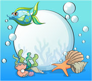 A fish and other sea creatures near the giant pearl. Illustration of a fish and other sea creatures near the giant pearl Stock Photography