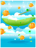 Fish out of water. And blue sky Royalty Free Stock Images