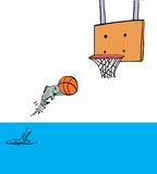 Fish Out of Water. Color illustration of a fish jumping out of water to put the basketball in the hoop Stock Image