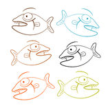 Fish Outline Illustration Set Stock Image