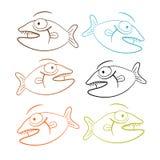 Fish Outline Illustration Set Stock Image