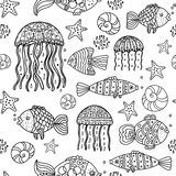 Fish outline. Marine seamless black-and-white pattern with fish, jellyfish, starfish Stock Photos