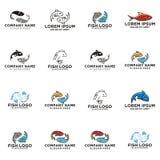 Fish outline monoline logo. Design inspiration eps and jpeg file Royalty Free Stock Image