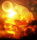 Fish outline tradition on blur background Royalty Free Stock Images