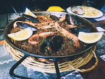Fish paella. Typical spanish food royalty free stock photography