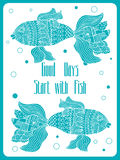Fish painted by hand. Vector illustration. Graphic arts Stock Image