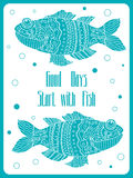 Fish painted by hand. Vector illustration. Graphic arts Royalty Free Stock Image