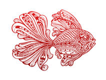 Fish painted tribal ethnic ornament. Vector illustration Royalty Free Stock Photos