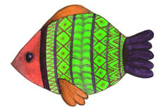Fish painted with a watercolor. And colored pencils Stock Image