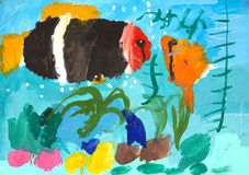 Fish painted with watercolors. Kids drawing Stock Images