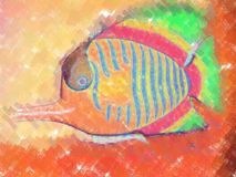 Fish painting. 2d picture painting - computer generated illustration Stock Image