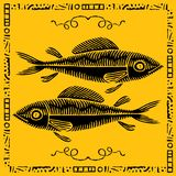 Fish pair woodcut Royalty Free Stock Photos