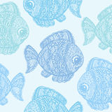 Fish in paisley mehndi doodle style. Cartoon fish illustration. Abstract fish drawing. Colorful wallpaper seamless textile pattern Stock Photo