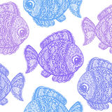 Fish in paisley mehndi doodle style. Cartoon fish illustration. Abstract fish drawing. Colorful wallpaper seamless textile pattern Stock Image