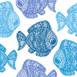 Fish in paisley mehndi doodle style. Cartoon fish illustration. Abstract fish drawing. Colorful wallpaper seamless textile pattern Royalty Free Stock Images