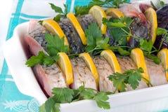 Fish in pan Royalty Free Stock Photo