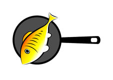 Fish on pan Stock Photography
