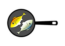 Fish on pan Royalty Free Stock Photo