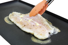Fish pangasius steak cooking Stock Images