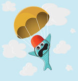 Fish with a parachute Royalty Free Stock Image
