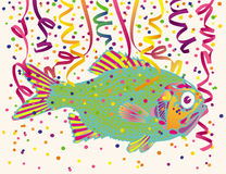 Fish and Party Confetti. Illustration of fantasy fish with party streamers and confetti Stock Photography