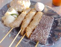 Fish paste bar, and black pudding closeup at the market. In Taiwan Royalty Free Stock Photography