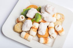 Fish paste cake and mochi for Japanese food ingredient image. Fish paste cake, the image is suitable for decoration of the restaurant , hotel , cafe, market Stock Photography
