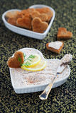 Fish pate. With lemon and poppy seed, selective focus Royalty Free Stock Image