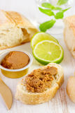 Fish pate on bread Royalty Free Stock Images