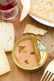 Fish pate in iron box Royalty Free Stock Images