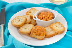 Fish pate with mini toasts Stock Image